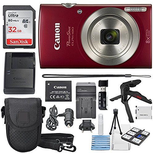 Canon PowerShot ELPH 180 Digital Camera (Red) + 32GB SDHC ...